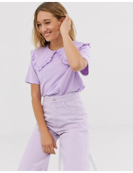 Monki Short Sleeve T Shirt With Oversized Collar In Lilac by Monki