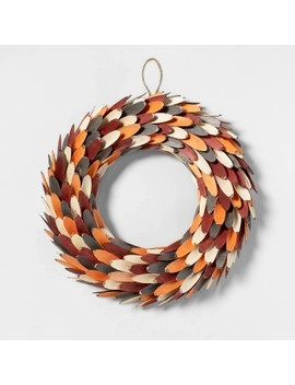 Harvest Wood Slice Decorative Wreath   Spritz by Spritz