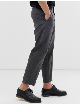 All Saints Checked Cropped Tapered Pants In Grey by All Saints