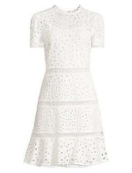 Short Sleeve Eyelet Flare Dress by Michael Michael Kors