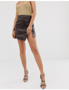 River Island Leather Asymmetric Hem Mini Skirt In Berry by River Island