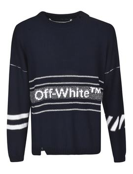 Off White Ripped Logo Sweater by Off White