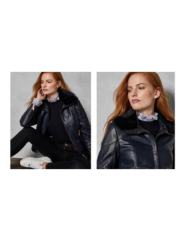Removable Collar Leather Jacket by Ted Baker
