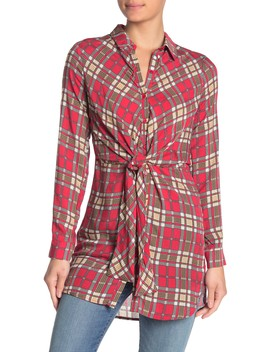 Plaid Tie Front Tunic by Favlux