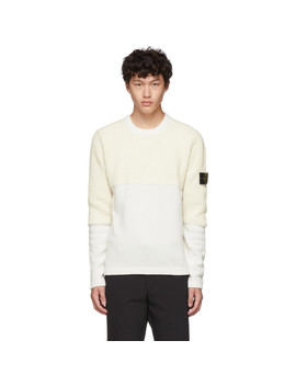 Off White Half Rib Knit Sweater by Stone Island