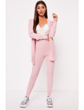 Melia Blush Ribbed Wrap Back Cardigan Co Ord Set by Misspap