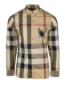 Burberry London Men's Thornaby Camel Casual Check Shirt by Burberry London
