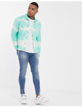 Asos Design Oversized Western Denim Jacket In Tie Dye by Asos Design