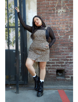 Plus Size Denim Leopard Overall Dress by Forever 21