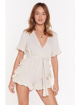 You Give Me Frills Ruffle Linen Playsuit by Nasty Gal