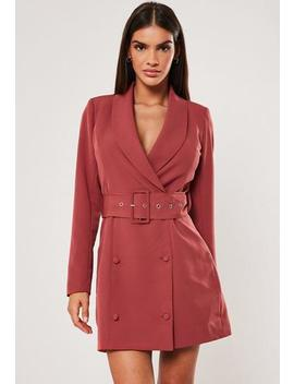 Terracotta Self Belted Button Blazer Dress by Missguided