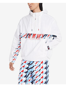 Men's Addison Geometric Print Logo Hooded Windbreaker by General