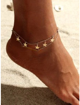Hot Alloy Star Layered Beach Anklet   Gold by Zaful