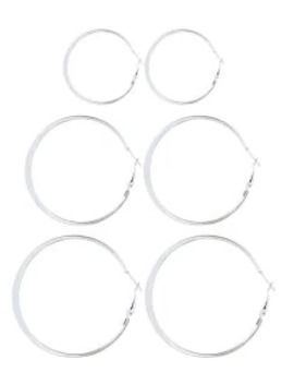 Hot 3 Pairs Alloy Hoop Earrings Set   Silver by Zaful