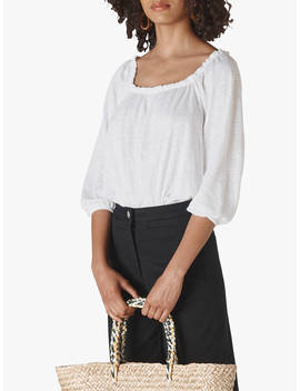 Whistles Linen Square Neck Top, White by Whistles
