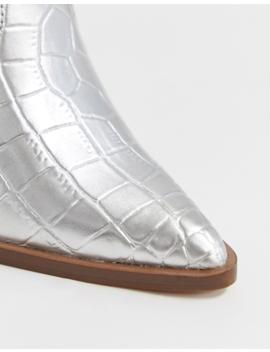 Asos Design Elliot Western Boots In Silver by Asos Design