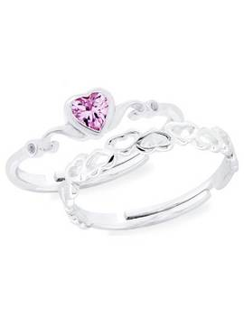 Revere Kid's Silver Heart Adjustable Rings   Set Of 2 by Argos