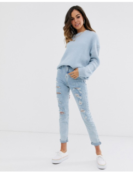 New Look Long Line Drop Shoulder Sweater In Blue by New Look