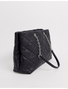 Stradivarius Tote Bag With Diamond Stitch In Black by Stradivarius