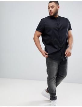 Camisa De Corte Estándar En Negro Con Cuello Henley De Asos Design Plus by Asos Design