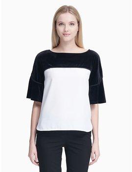Velvet Combo Short Sleeve Top by Calvin Klein
