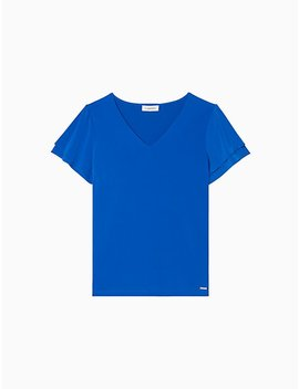 V Neck Short Layered Sleeve Top by Calvin Klein
