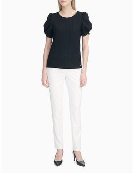 Vertical Texture Puff Sleeve Top by Calvin Klein