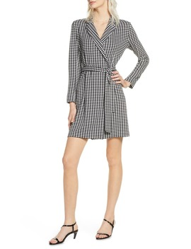 Sadira Houndstooth Check Long Sleeve Dress by French Connection