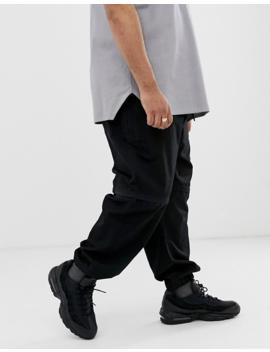 Joggers Tapered En Negro Con Detalle De Cremallera De Asos Design Plus by Asos Design