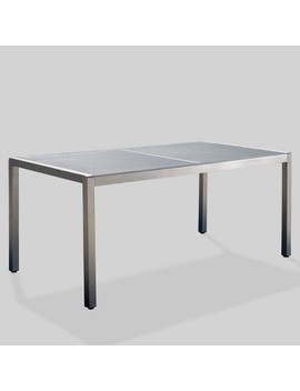 Cape Coral Rectangle Aluminum &Amp; Tempered Glass Dining Table   Silver/Gray   Christopher Knight Home by Silver/Gray