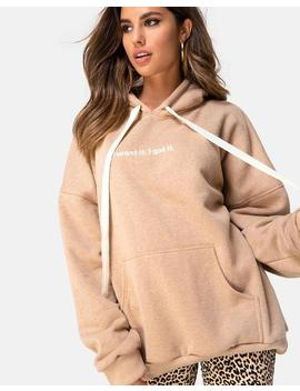 Oversize Hoody In Tan I Want It Embro By Motel by Motel