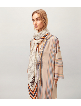Buddy Logo Oversized Printed Square Scarf by Tory Burch