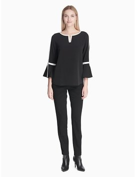 Piped Bar Plaque Bell Sleeve Top by Calvin Klein