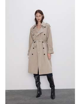 Water Repellent Buttoned Trench Coatcoats Woman by Zara