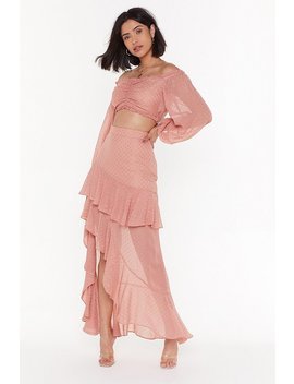 We've Dot The Moves Ruffle Maxi Skirt by Nasty Gal