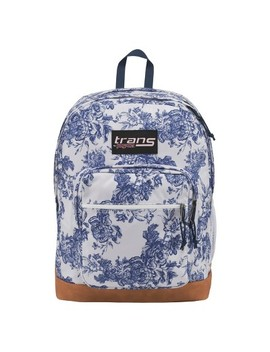 "Trans By Jan Sport® Super Cool 17"" Ocean Vintage Floral Print Backpack   White/Blue by White/Blue"