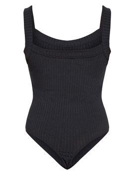 Black Jumbo Rib Thick Strap Sleeveless Bodysuit by Prettylittlething