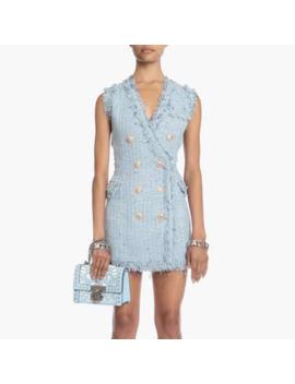 High Street Newest Fashion 2019 Designer Runway Dress Women's V Neck Double Breasted Fringe Tassel Colors Tweed Tank Dress by Ali Express.Com