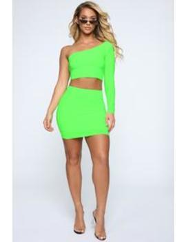 Heading Out Slinky Set   Neon Green by Fashion Nova