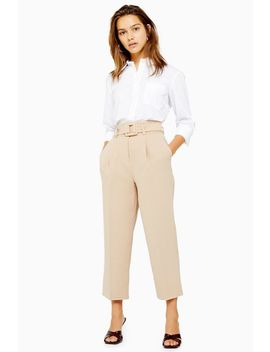 Petite Stone Buckle Peg Trousers by Topshop