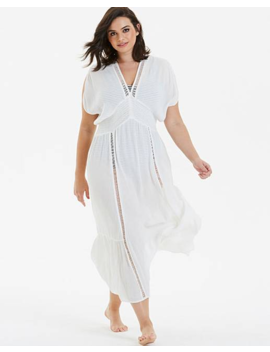 Beachwear Embroidered Insert Maxi Kaftan by Simply Be