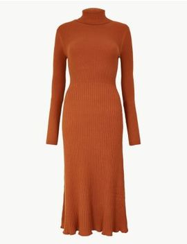 Ribbed Fit &Amp; Flare Knitted Dress by Marks & Spencer