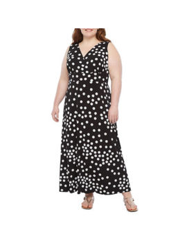Ronni Nicole Sleeveless Dots Maxi Dress Plus by Ronni Nicole