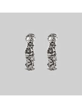 Dahlia. Floral Garland Hoop Earrings   Silver by Regalrose