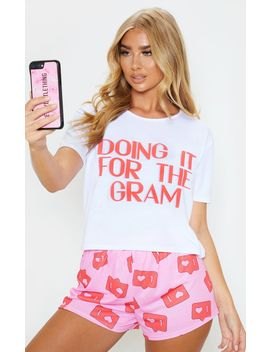 Pink Doing It For The Gram Pj Set by Prettylittlething