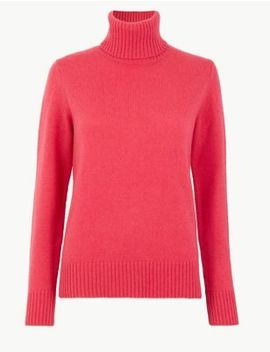 Lambswool Roll Neck Jumper by Marks & Spencer