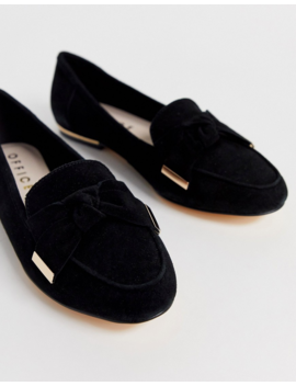 Office Flannery Black Suede Bow Buckle Flat Loafers by Office