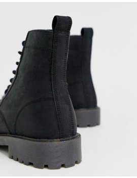 Asos Design Wide Fit Lace Up Boots In Black Leather With Chunky Sole by Asos Design