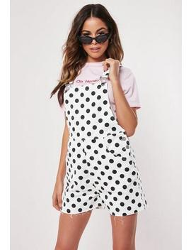 White Polka Dot Denim Dungaree Playsuit by Missguided