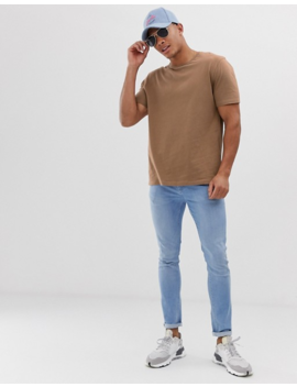 Asos Design Relaxed T Shirt With Crew Neck In Brown by Asos Design
